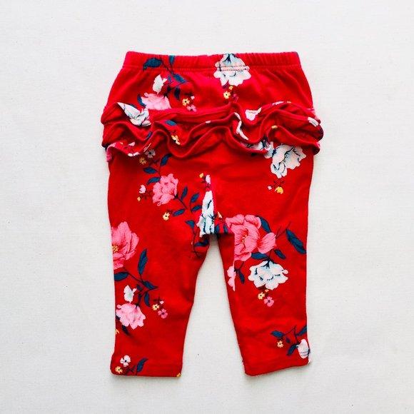Red Floral Ruffle Bum Leggings